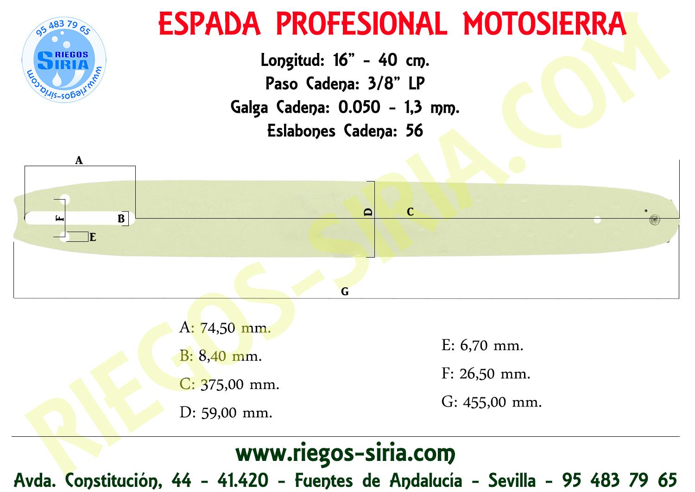 "Espada Jonsered 3/8"" 050"" 40 cm."