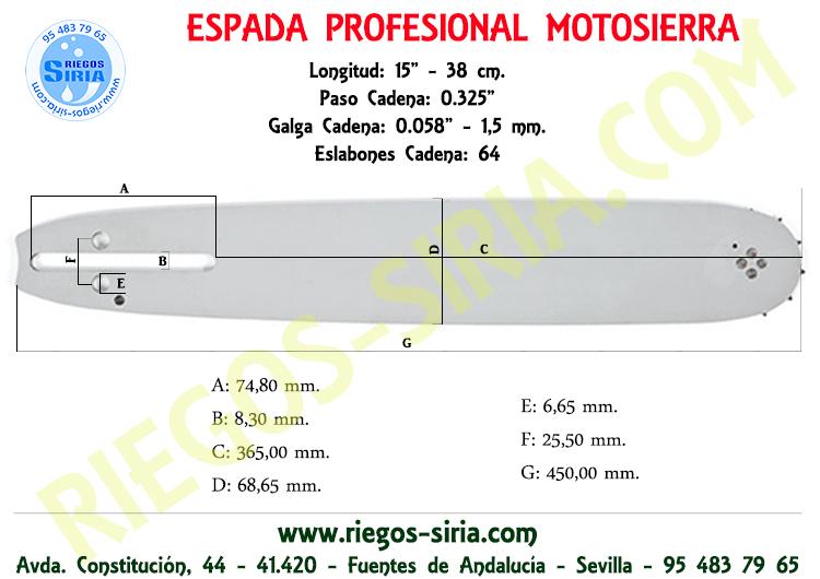 "Espada Ryobi 0.325"" 1,5 mm. 38 cm."