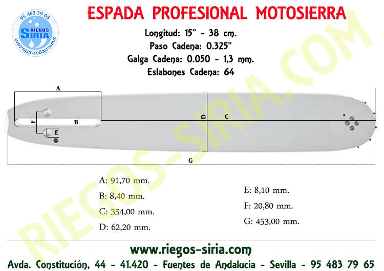 "Espada 0.325"" 1,3 mm. 38 cm. Pioneer"