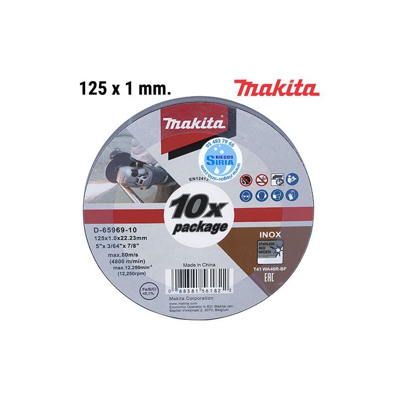 Set 10 ud. Disco Corte Inoxidable Extrafino 125 x 1,0 mm D-65969-10
