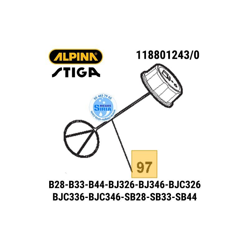Tapón de Gasolina Alpina Stiga B28 B33 B44 BJ326 BJ346 BJC326 BJC336 BJC346 SB28 SB33 SB44 ST28J T28J 160131