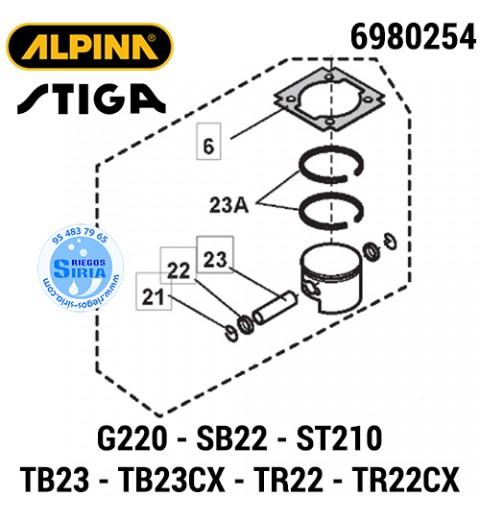 Pistón Completo Alpina Stiga G220 SB22 ST210 TB23 TB23CX TR22 TR22CX 160051