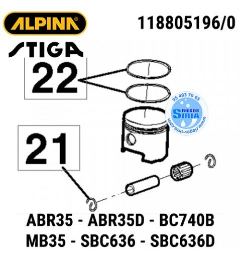 Pistón Completo Alpina Stiga ABR35 BC740B MB35 SBC636 160041