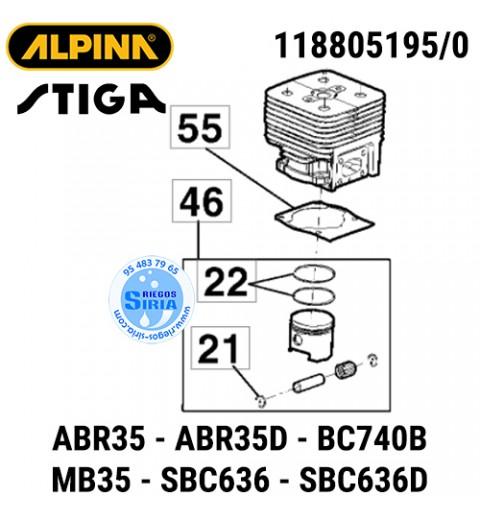 Cilindro Completo Alpina Stiga ABR35 BC740B MB35 SBC636 160042
